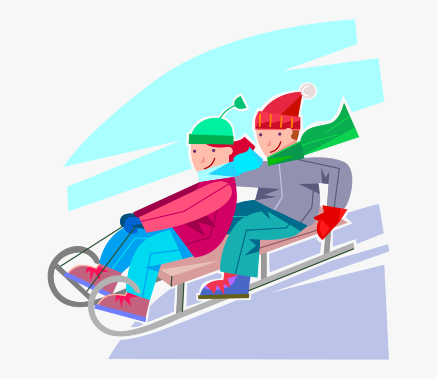 Vector Illustration Of Young Children Speed Down Snow - Rodeln Clipart, Transparent Clipart