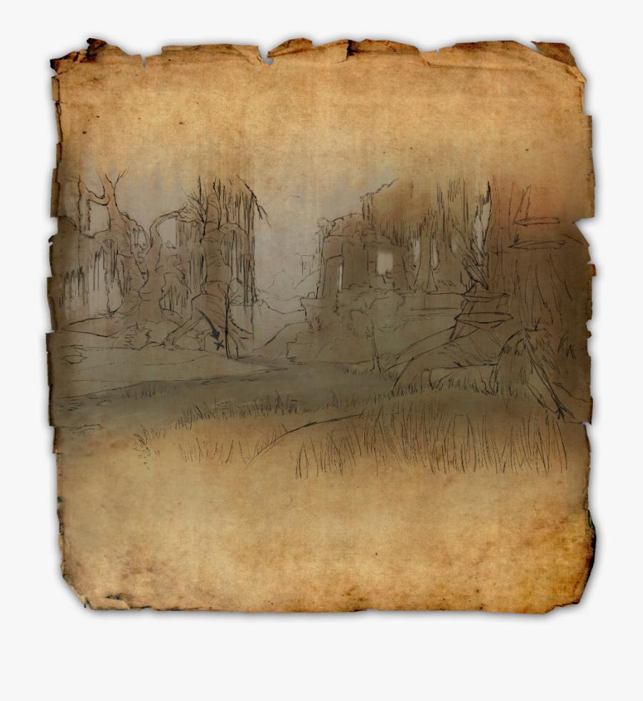 Transparent Scrolls Png - Shadowfen Treasure Map 3, Transparent Clipart