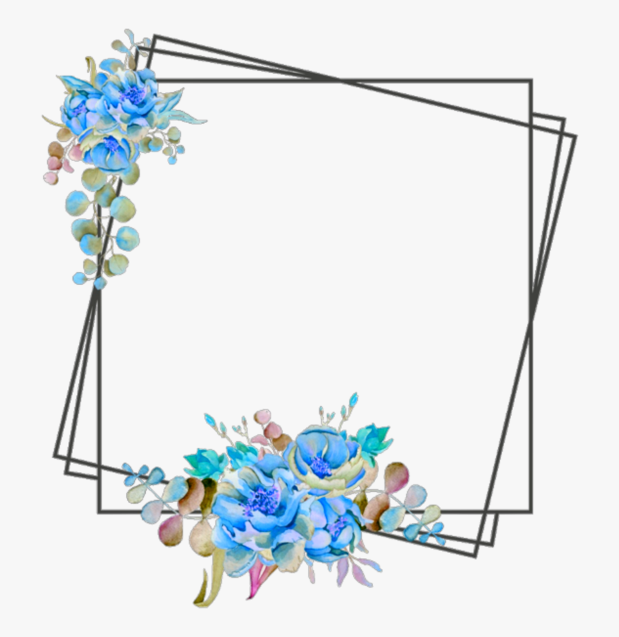 Ftestickers Frame Borders Flowers Blue Clipart , Png - Blue Flower Border Design, Transparent Clipart