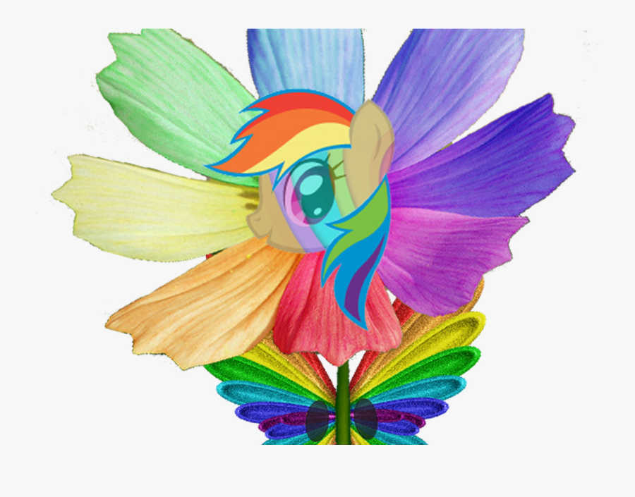 Happy Rainbow Butterfly Pony Flowers Electric Dragon - Rainbow Butterfly, Transparent Clipart