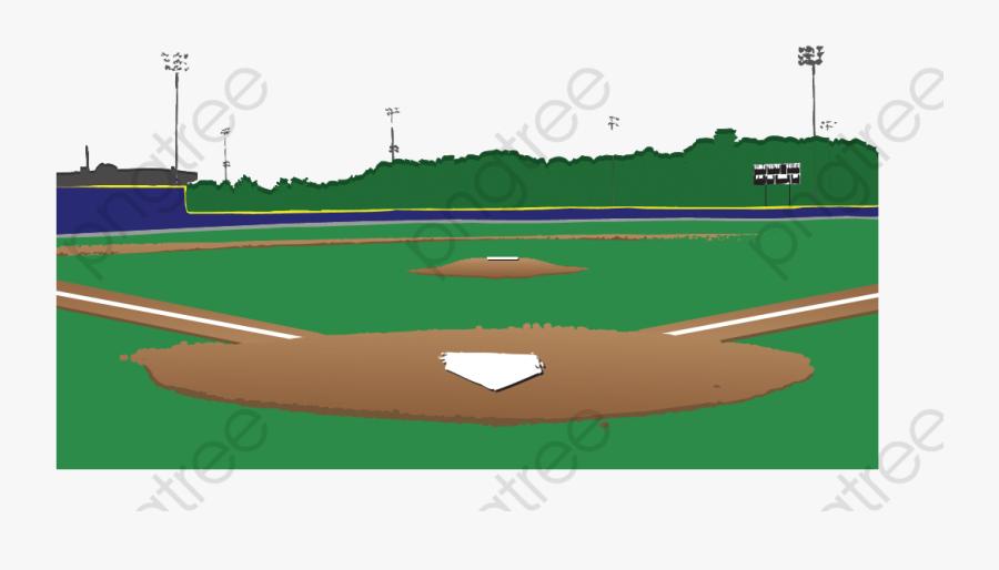 Cartoon Baseball Field Clipart - Background Cartoon Baseball Diamond, Transparent Clipart