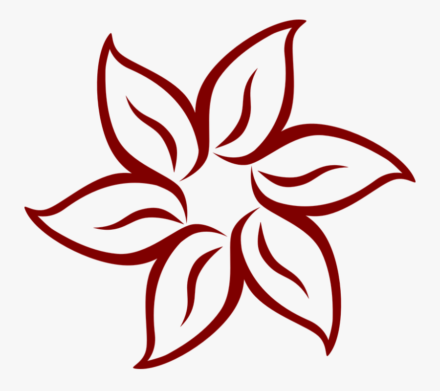Flower, Symmetry, Leaves, Petals, Mandala, Maroon - Flower Mothers Day Drawings, Transparent Clipart