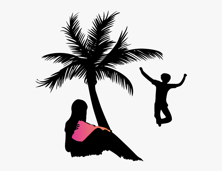 People Silhouettes On The Beach Png Download - People Silhouettes At Beach, Transparent Clipart