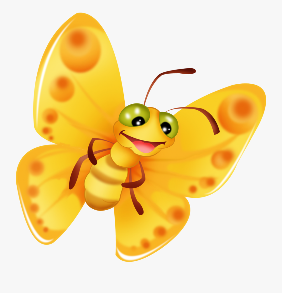 A Yellow Butterfly - Yellow Butterfly Cartoon Drawing, Transparent Clipart