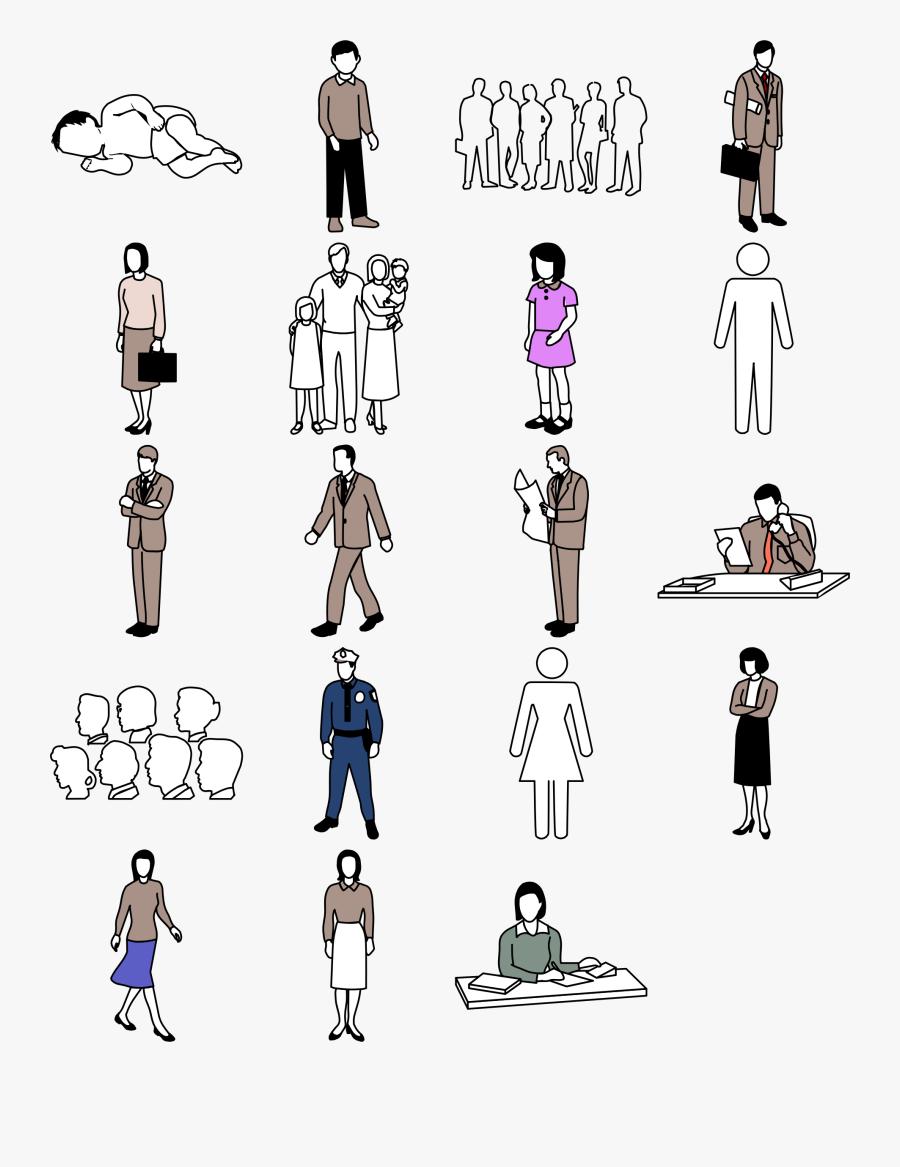 Different People Icons Big - Mensch Comic Schwarz Weiß, Transparent Clipart