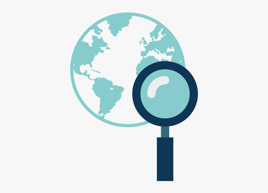 Globe And Magnifying Glass Icon For Worldwide Patent - World Map, Transparent Clipart