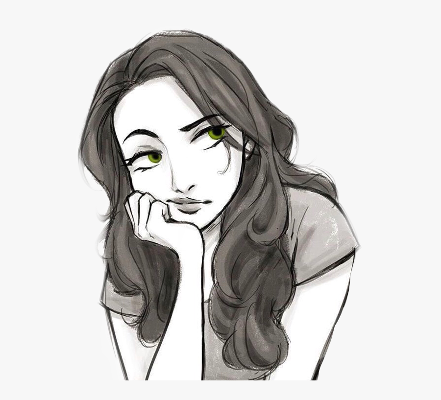Art Drawing Cartoon Portrait Longhair Brunette Girl Drawing Being Bored Free Transparent Clipart Clipartkey