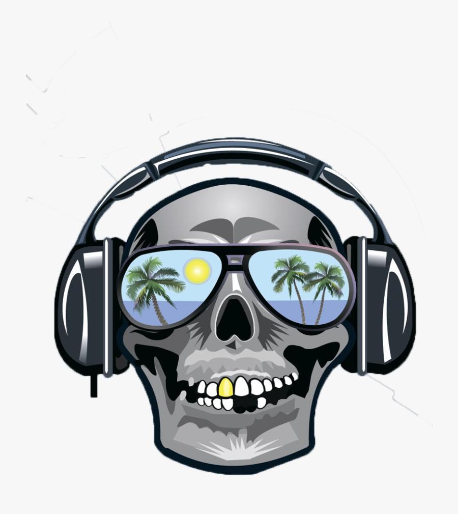 Clip Art Skull Wearing Headphones - Skull Wearing Headphones Png, Transparent Clipart