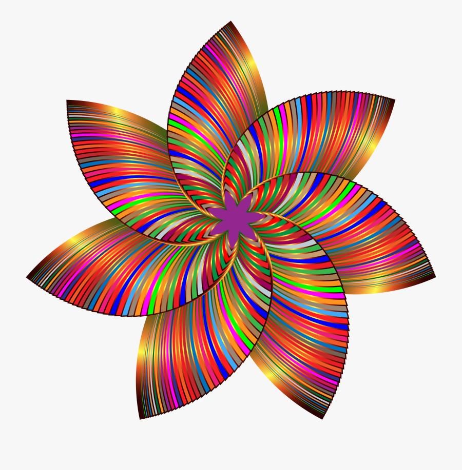 Colorful Flower Line Art - Flower Colorful Clipart Design, Transparent Clipart