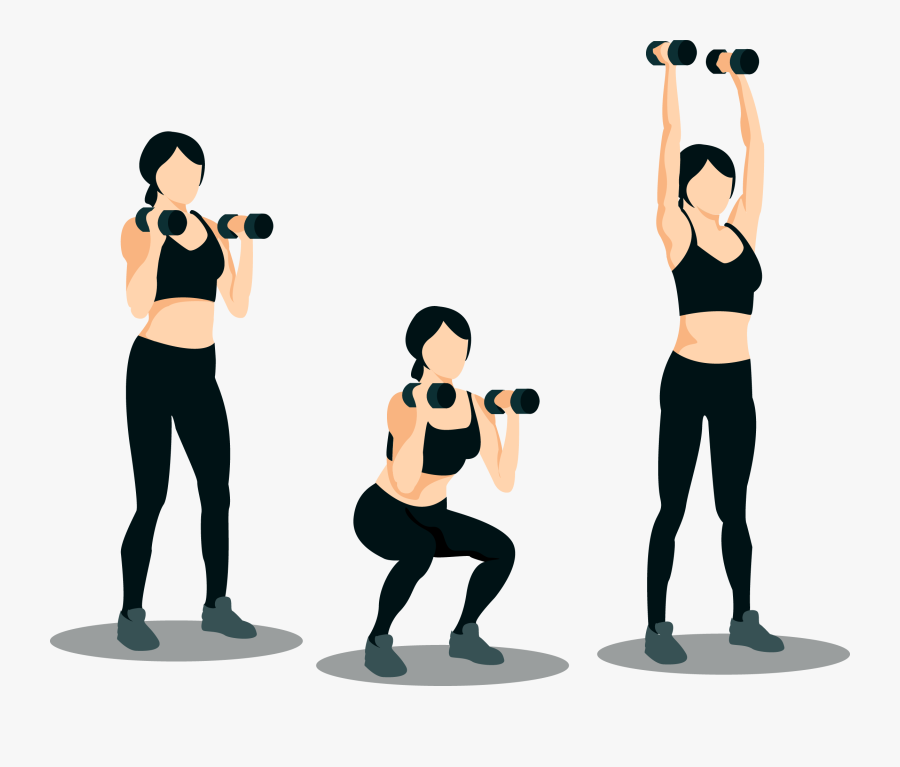 Women Full Body Movements Squat With Shoulder Press Up Free Transparent Clipart Clipartkey