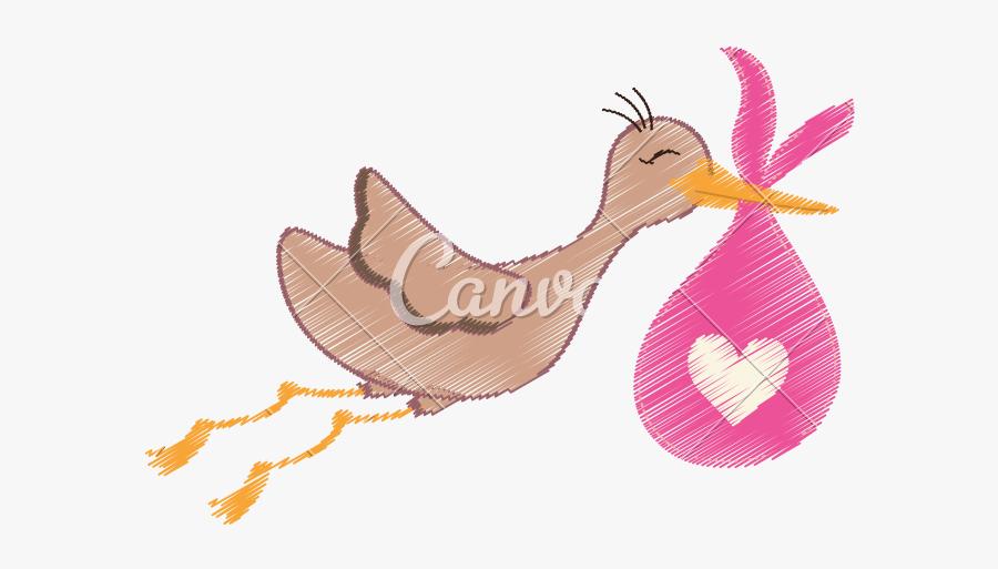 Stork Vector Newborn - Desenhos De Coisas De Nenem Menina, Transparent Clipart