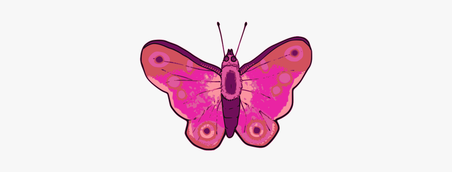 Vector Illustration Of Pink And Purple Butterfly - Butterfly Vector Mariposas Rosa Borboleta Butterfly, Transparent Clipart