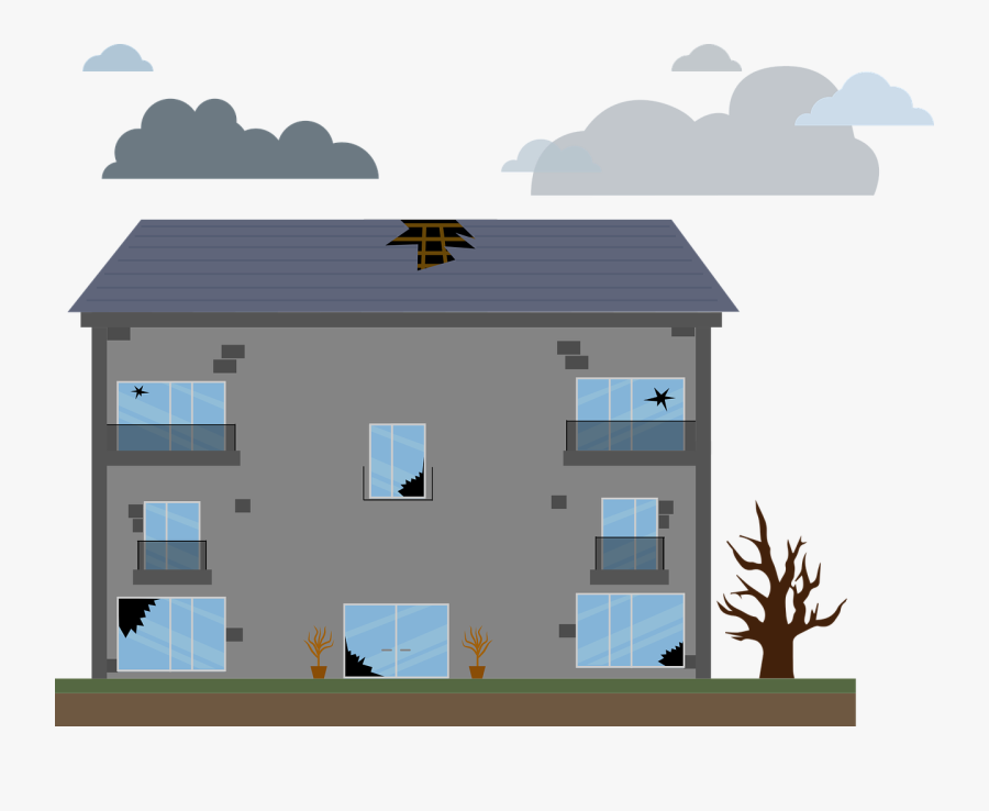 Transparent Destroyed House Clipart - Hole In Roof Vector, Transparent Clipart