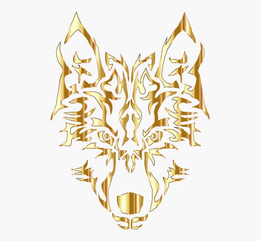 Symetrical Drawing Tribal - Golden Wolf Logo Png, Transparent Clipart
