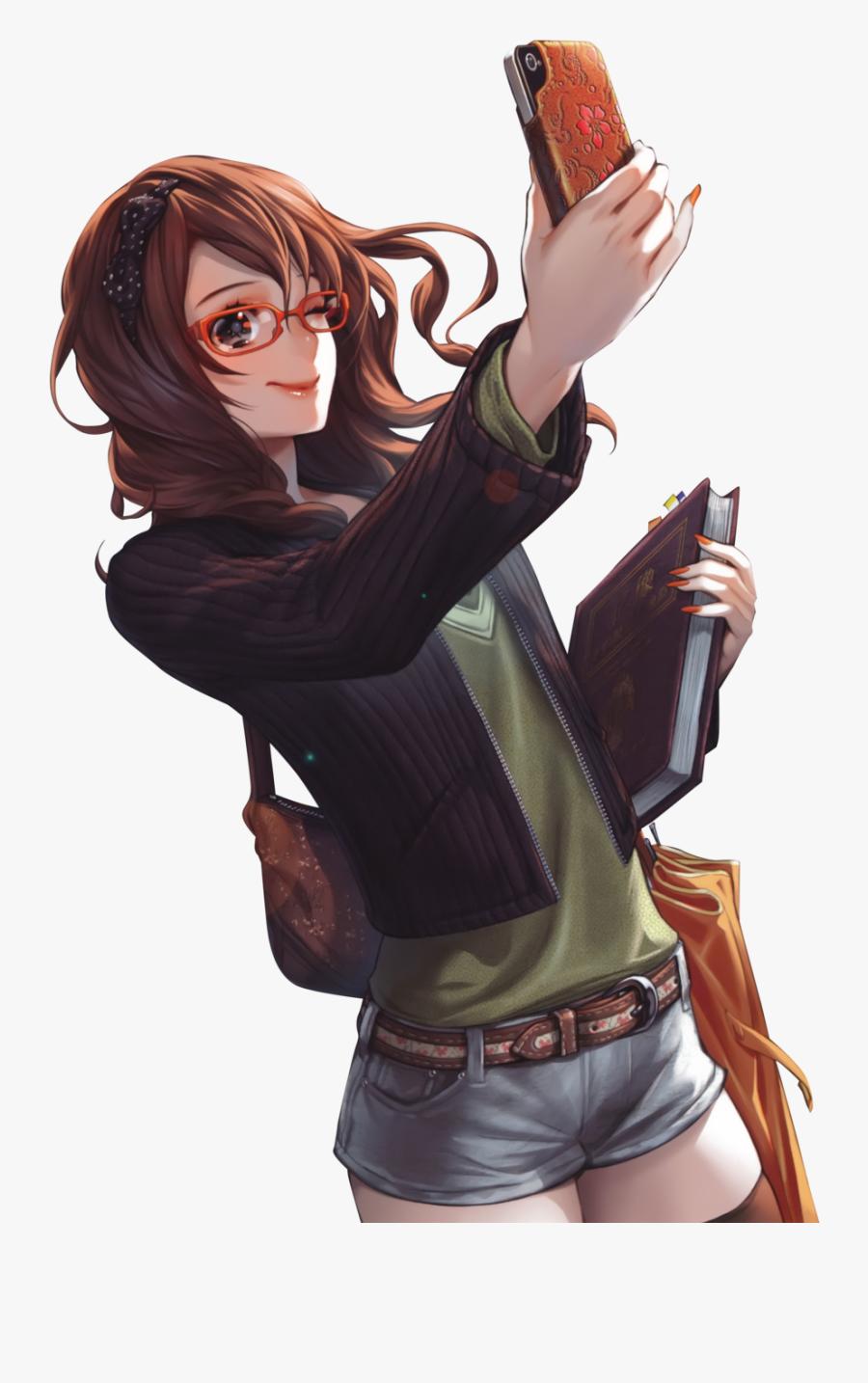 Brunette Manga Girl With Glasses Anime Girl Brown Hair Free