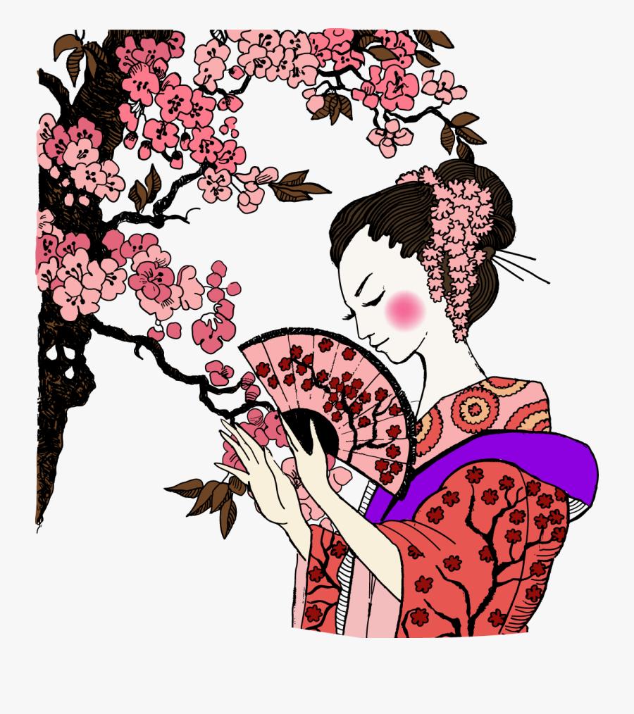 Geisha Ancient Women Transprent Png Free - Japanese Geisha Png, Transparent Clipart