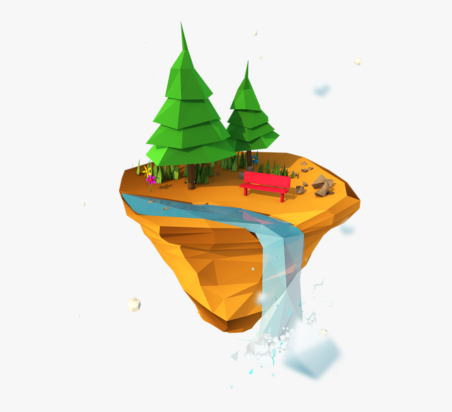 Clip Art Islands By Moek Via - Floating Island Low Poly, Transparent Clipart