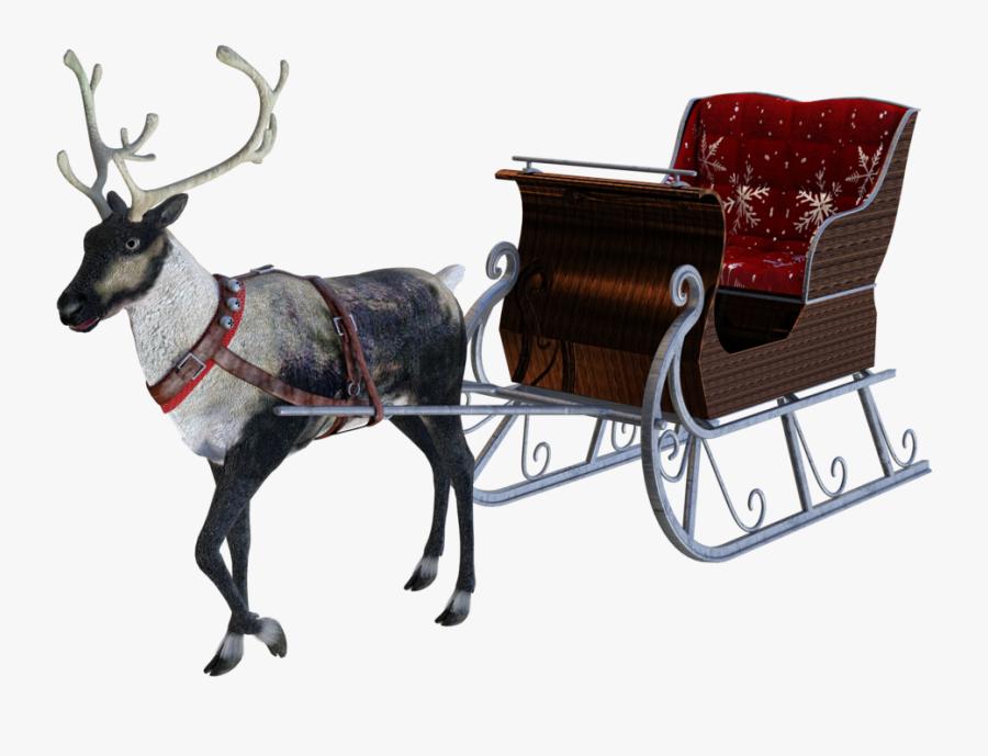 Reindeer Sleigh Png - Santas Sleigh Transparent Free, Transparent Clipart