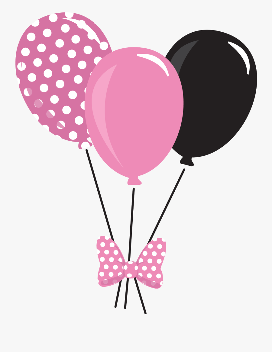 Minnie Mouse With Balloons Clipart - Minnie Mouse Balloons Png, Transparent Clipart