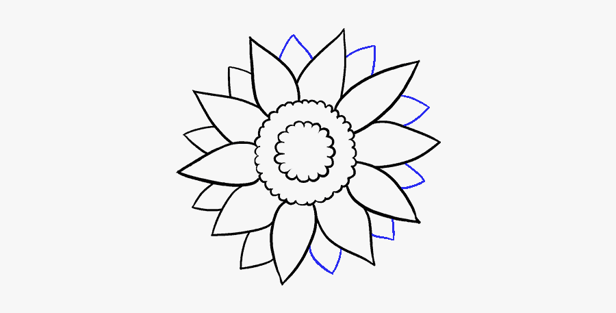 Clip Art Library Stock Crayons Drawing Basic - Easy Sunflower Drawing Black And White, Transparent Clipart