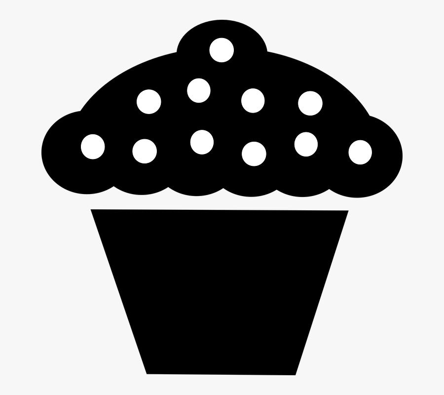 Birthday Cupcake Clip Art Black And White Download - Cupcake Clipart Black, Transparent Clipart
