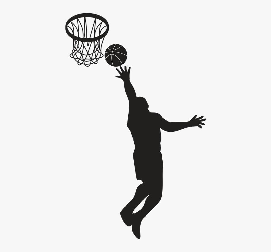 Transparent Basketball Rim Png - Basketball Player Black And White, Transparent Clipart