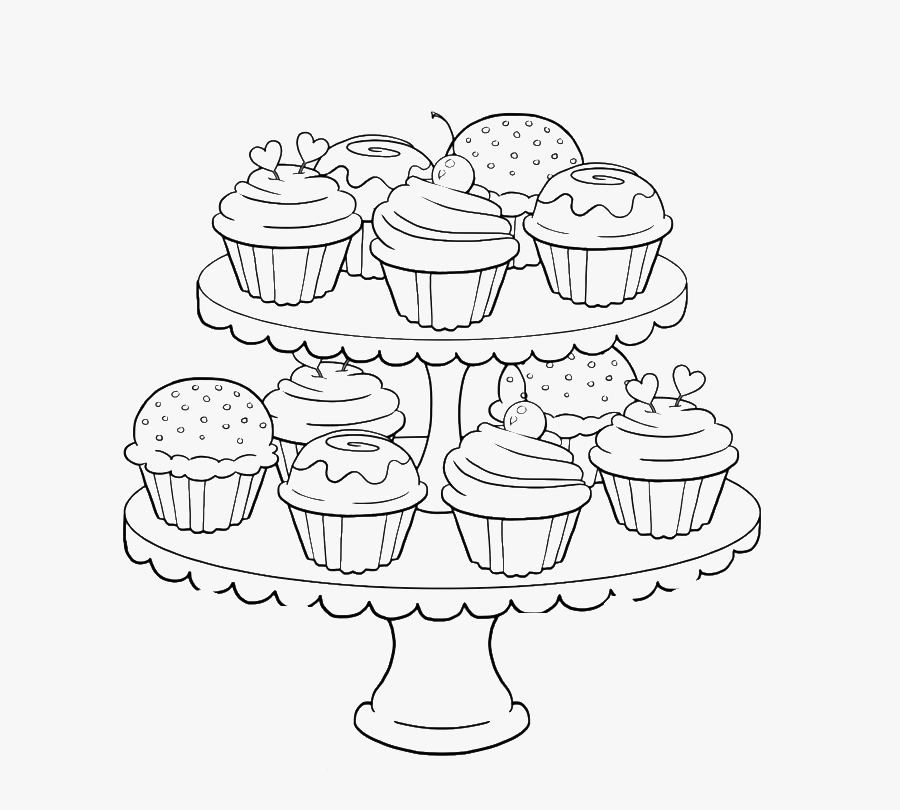 Birthday Cupcake Steady And Delicious Coloring Page - Coloring Pages For Adults Food, Transparent Clipart