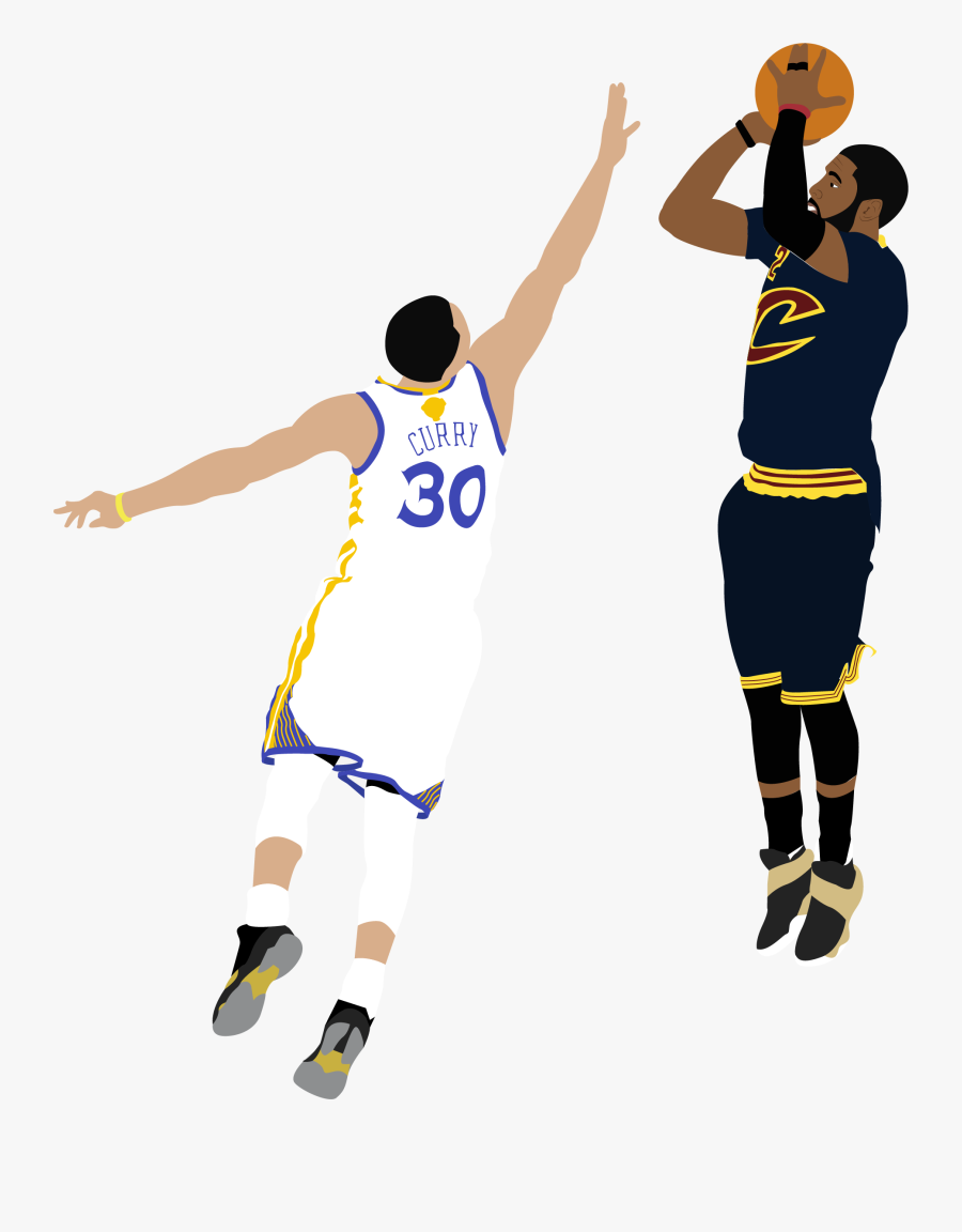 Illustration Of Nba Player Kyrie Irving Shooting A - Cartoon Basketball Player Shooting, Transparent Clipart