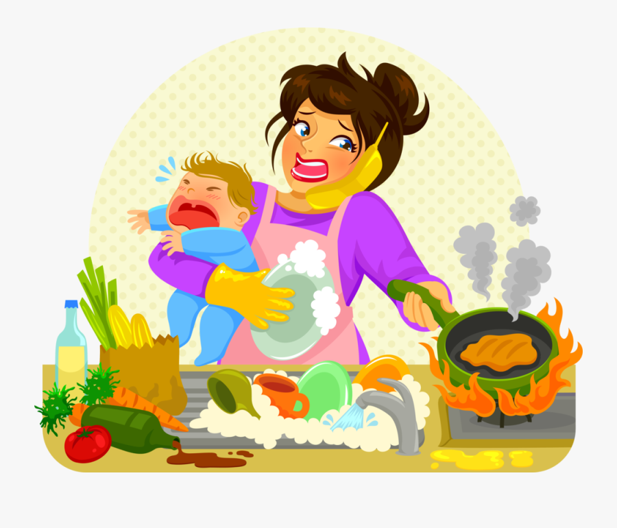 Time Saving Meal Prep Tips For The Kitchen - Cartoon Stressed Mom ...
