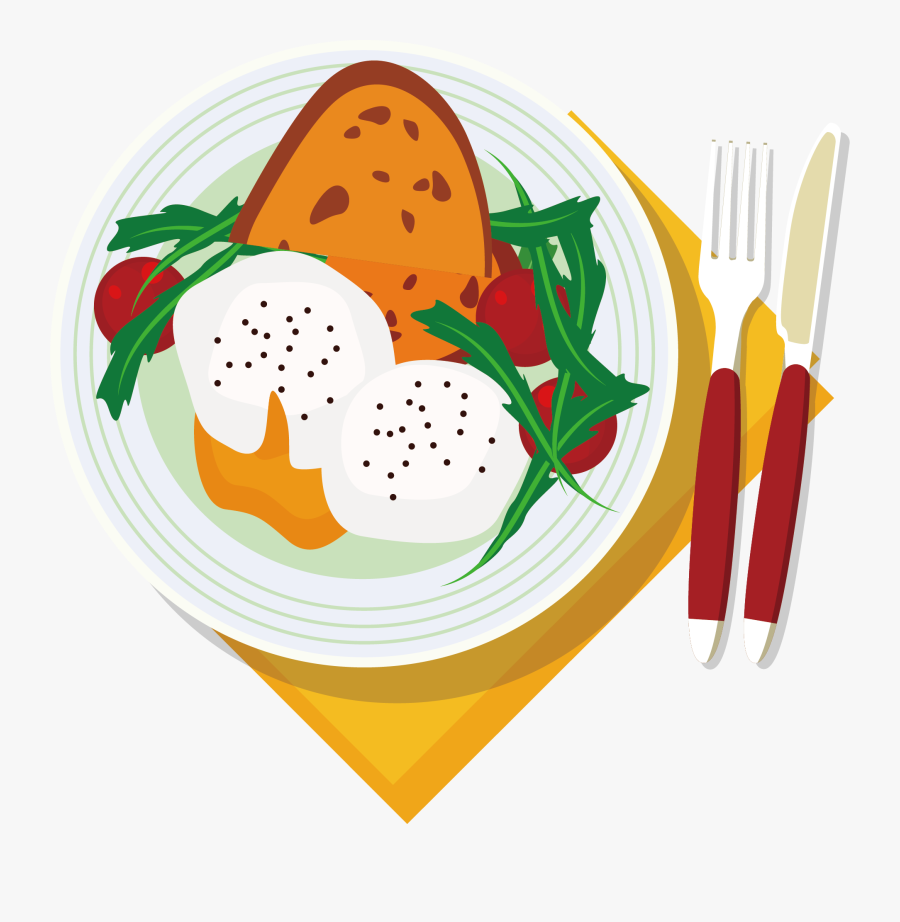 Breakfast Clipart Healthy Breakfast - Plate Of Food Vector Png, Transparent Clipart