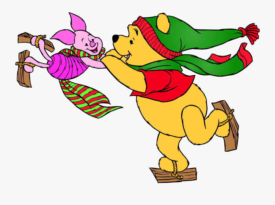 Winnie The Pooh And Piglet Skating Png Clip Art - Winnie The Pooh Skating, Transparent Clipart