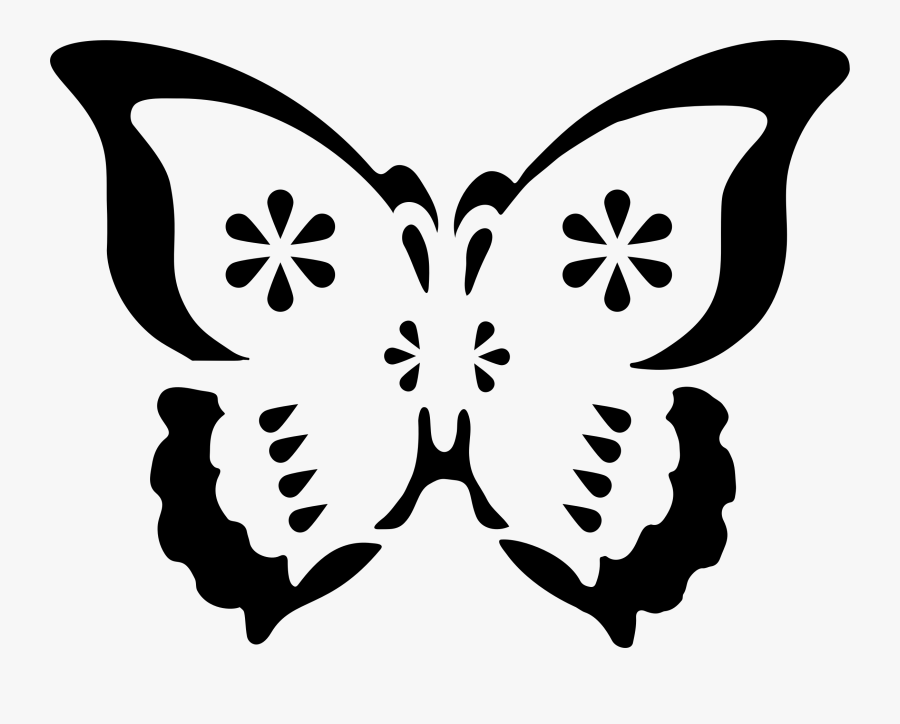 Symmetry,monochrome Photography,artwork - Butterfly Stencil Svg Cutting File Free, Transparent Clipart