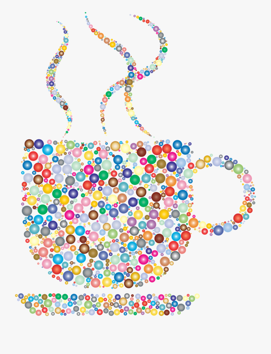 Coffee, Coffee Cup Steam Hot Beverage Drink Refres - Colorful Coffee Cup With Coffee, Transparent Clipart