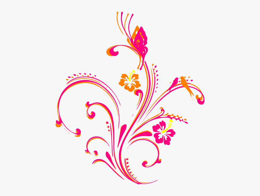 Butterfly Clipart Design - Butterfly Border Design In Pink, Transparent Clipart