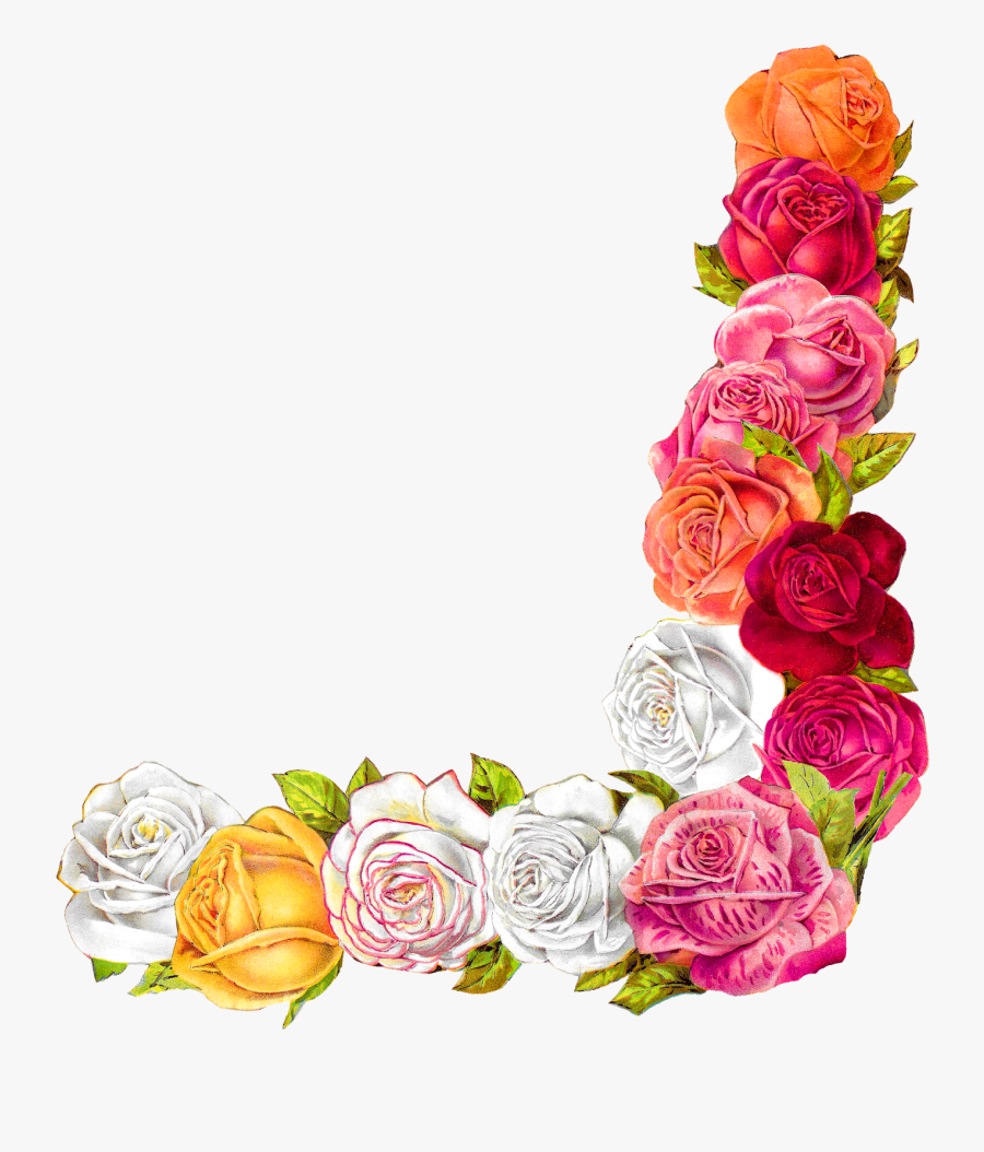 Rose Shabby Chic Flower Border Corner Design Digital - Border Design For Scrapbook, Transparent Clipart