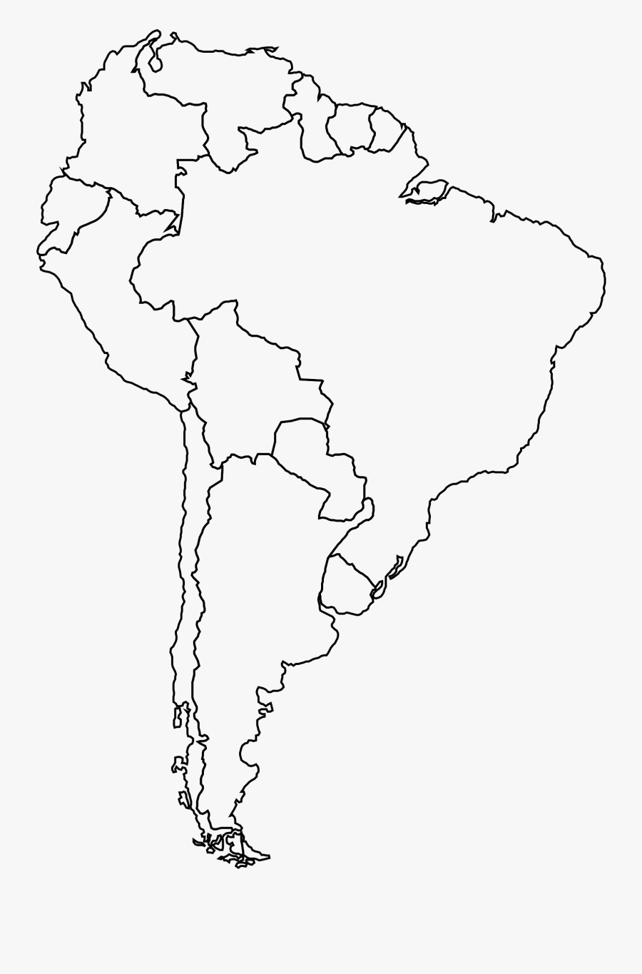 Blank South America Map South America Blank Map , Free Transparent Clipart   ClipartKey