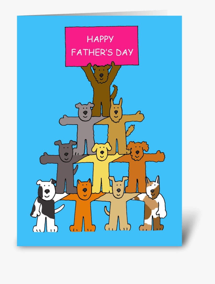 "Happy Father""s Day Dogs Greeting Card - Welcome To The Team Cartoon, Transparent Clipart"