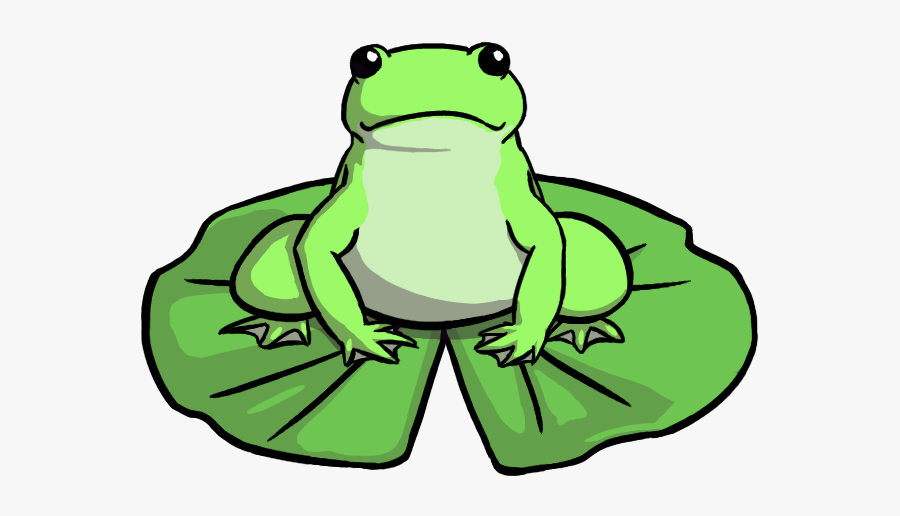 Cartoon Frog On Lily Pad, Transparent Clipart