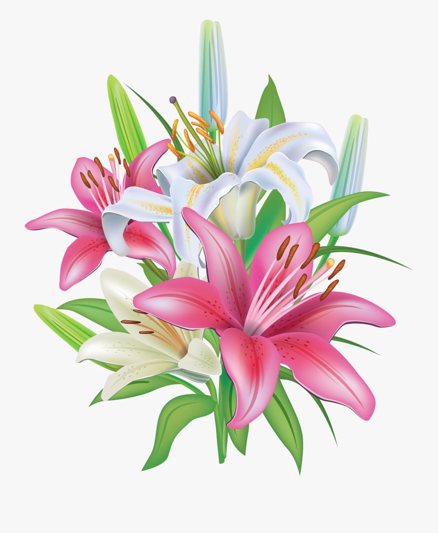 Lilies Flowers Decoration Png Clipart Image - Lily Flower Clip Art, Transparent Clipart