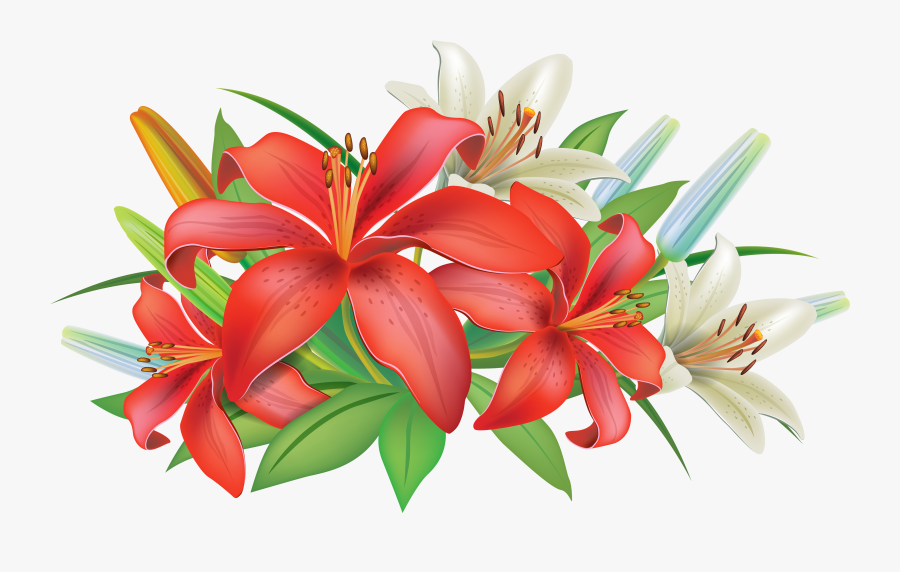 Red Lilies Flowers Decoration Png Clipart Image - Flowers Decoration Clip, Transparent Clipart