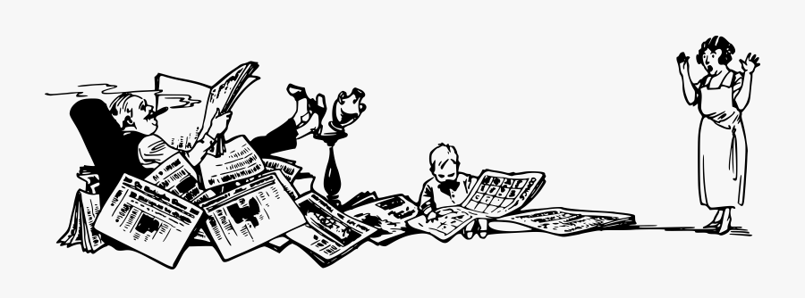 Art,monochrome Photography,text - Man Reading Many Newspapers Png, Transparent Clipart