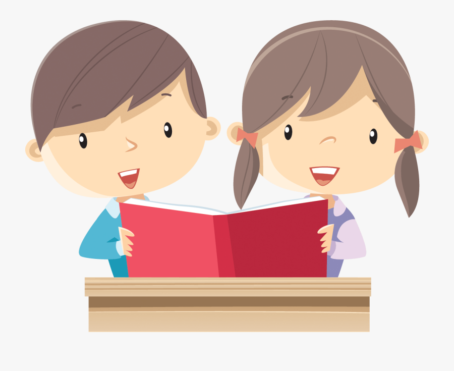 Boy And Girl Reading Clipart, Transparent Clipart