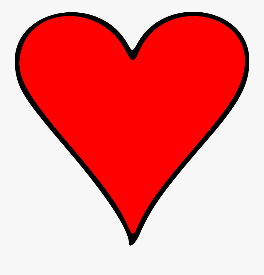 Heart Clipart, Emoji Illustration Red Heart - Playing Card Heart Symbol, Transparent Clipart
