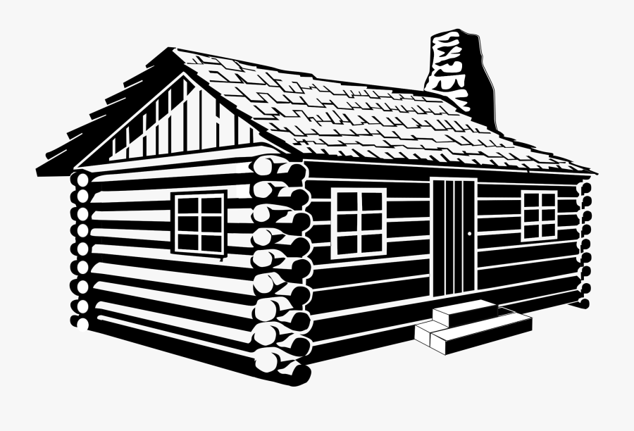 Log Cabin Drawing Clip Art - Cabin Black And White, Transparent Clipart