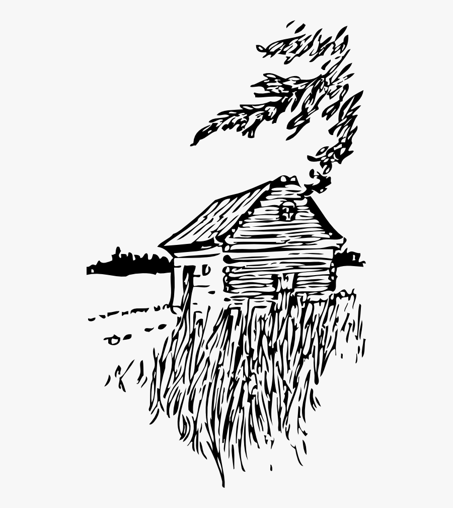 Cabin On The Plains - Black And White Scenery Clipart, Transparent Clipart