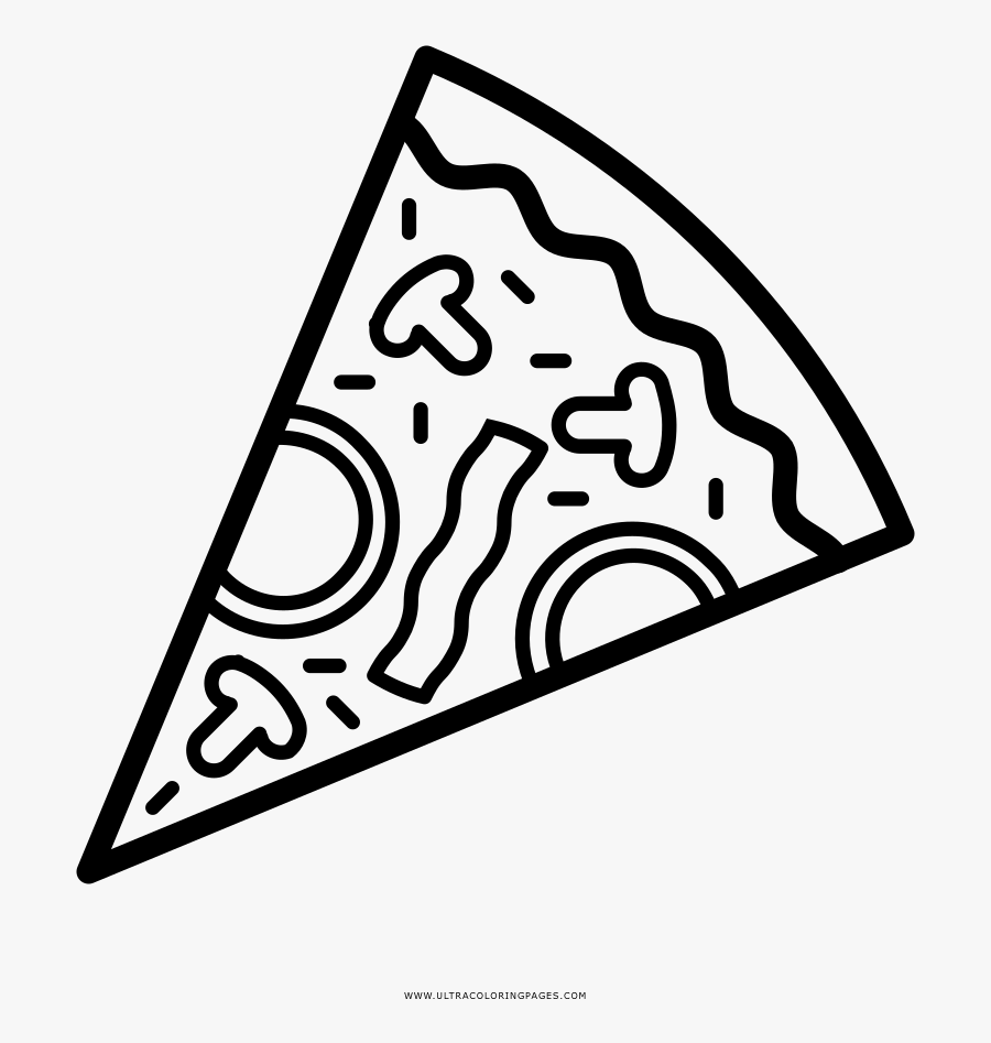 Pizza Coloring Page - Outline Pizza Clip Art Black And ...