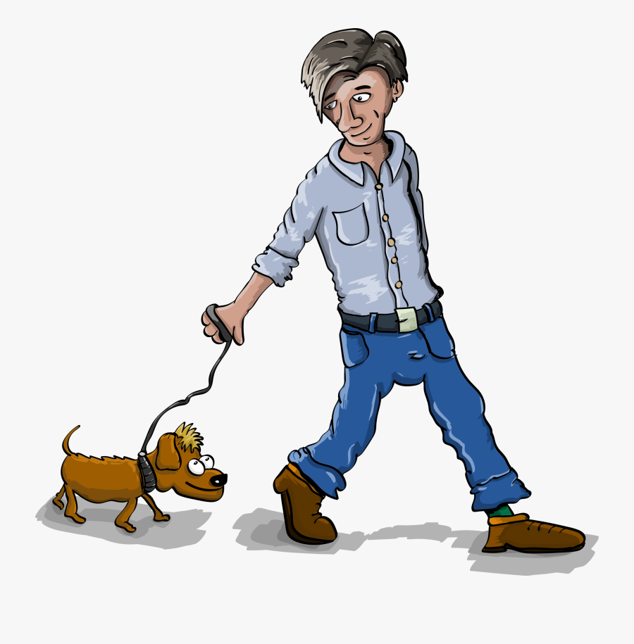 Dog-walking - Boy Walking Small Dog Clipart, Transparent Clipart