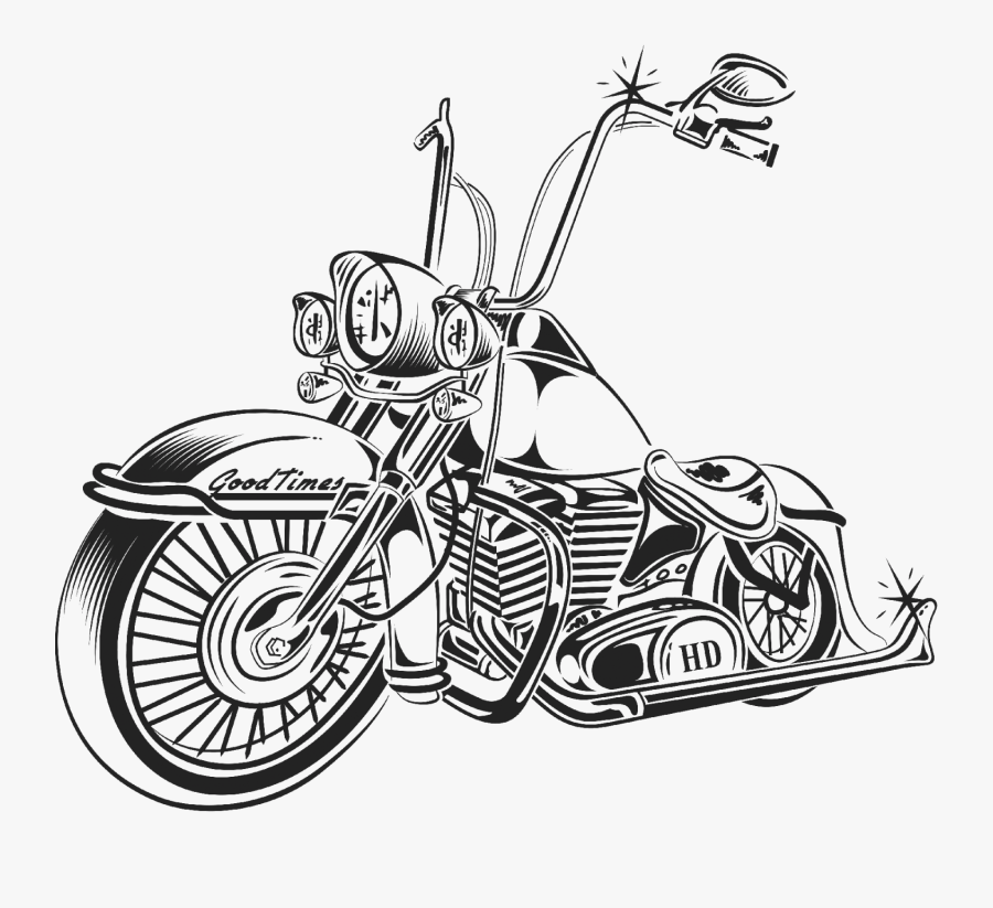 Land Vehicle,motor Vehicle,motorcycle,line Art,vehicle,mode - Old School Harley Drawings, Transparent Clipart