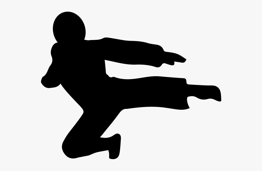 Flying Kicking Ninja Silhouette Small Acorn - Silhouette Ninja Clip Art, Transparent Clipart
