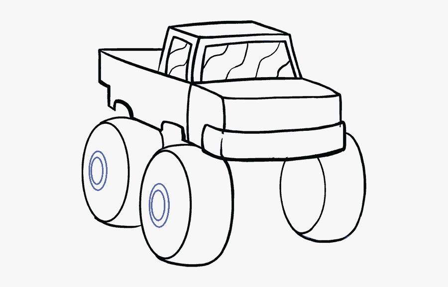 How To Draw Monster Truck Easy Monster Truck Drawing Free Transparent Clipart Clipartkey